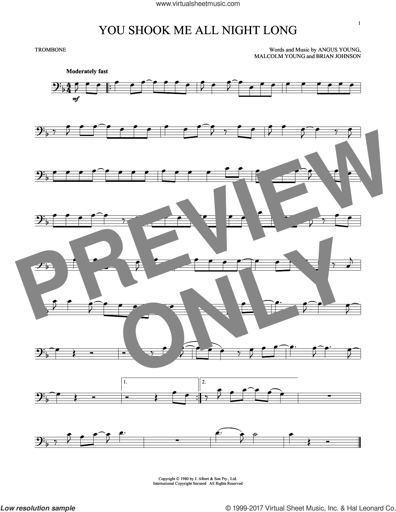You Shook Me All Night Long sheet music for trombone solo by AC/DC, Angus Young, Brian Johnson and Malcolm Young, intermediate skill level