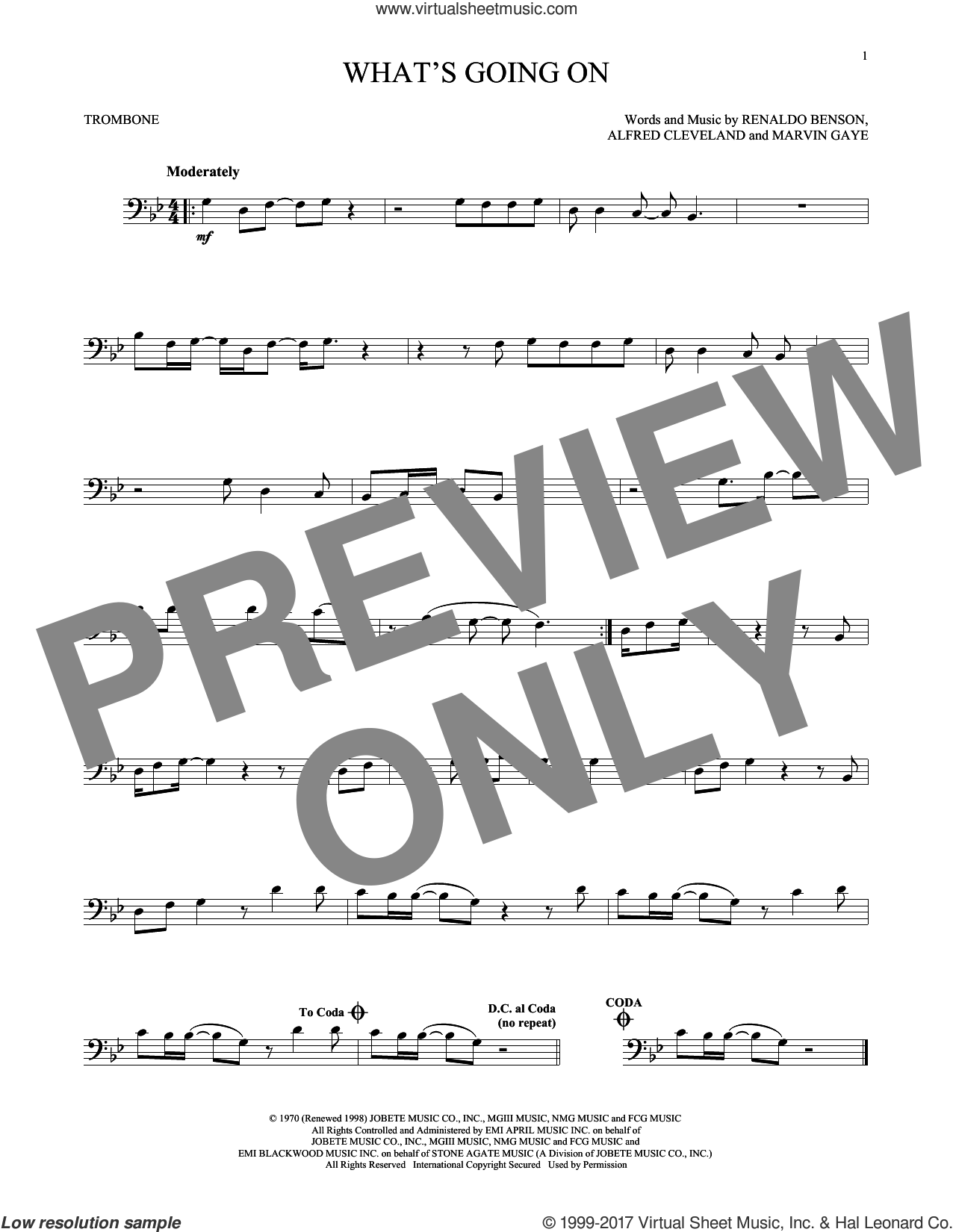 What's Going On sheet music for trombone solo by Marvin Gaye, Al Cleveland and Renaldo Benson, intermediate