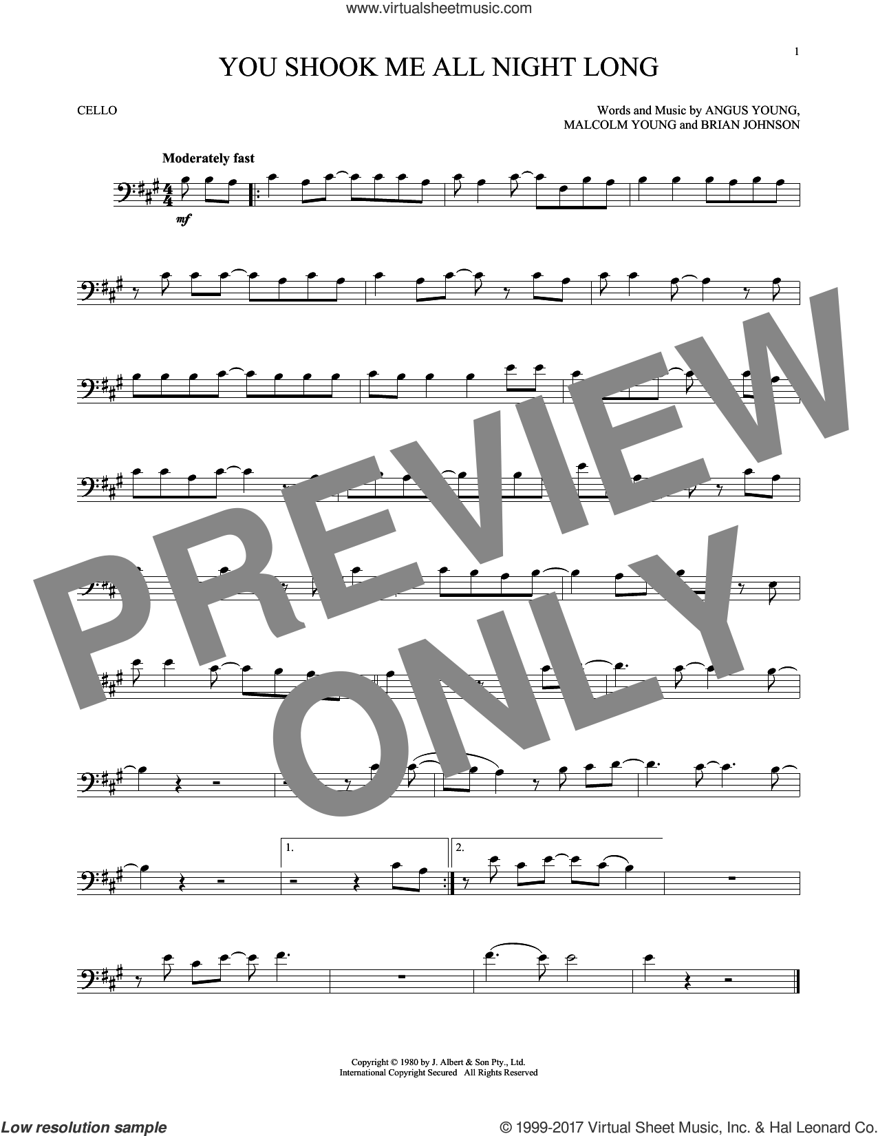 You Shook Me All Night Long sheet music for cello solo by AC/DC, Angus Young, Brian Johnson and Malcolm Young, intermediate skill level