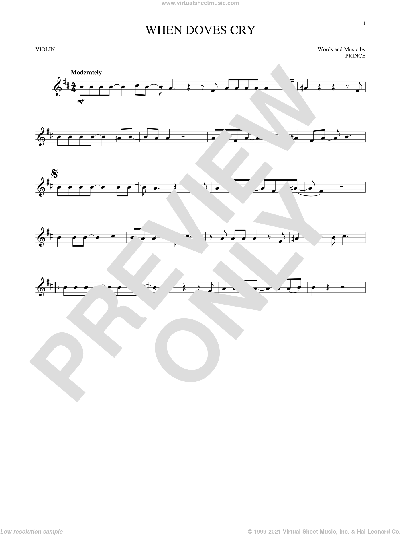 When Doves Cry sheet music for violin solo by Prince, intermediate skill level