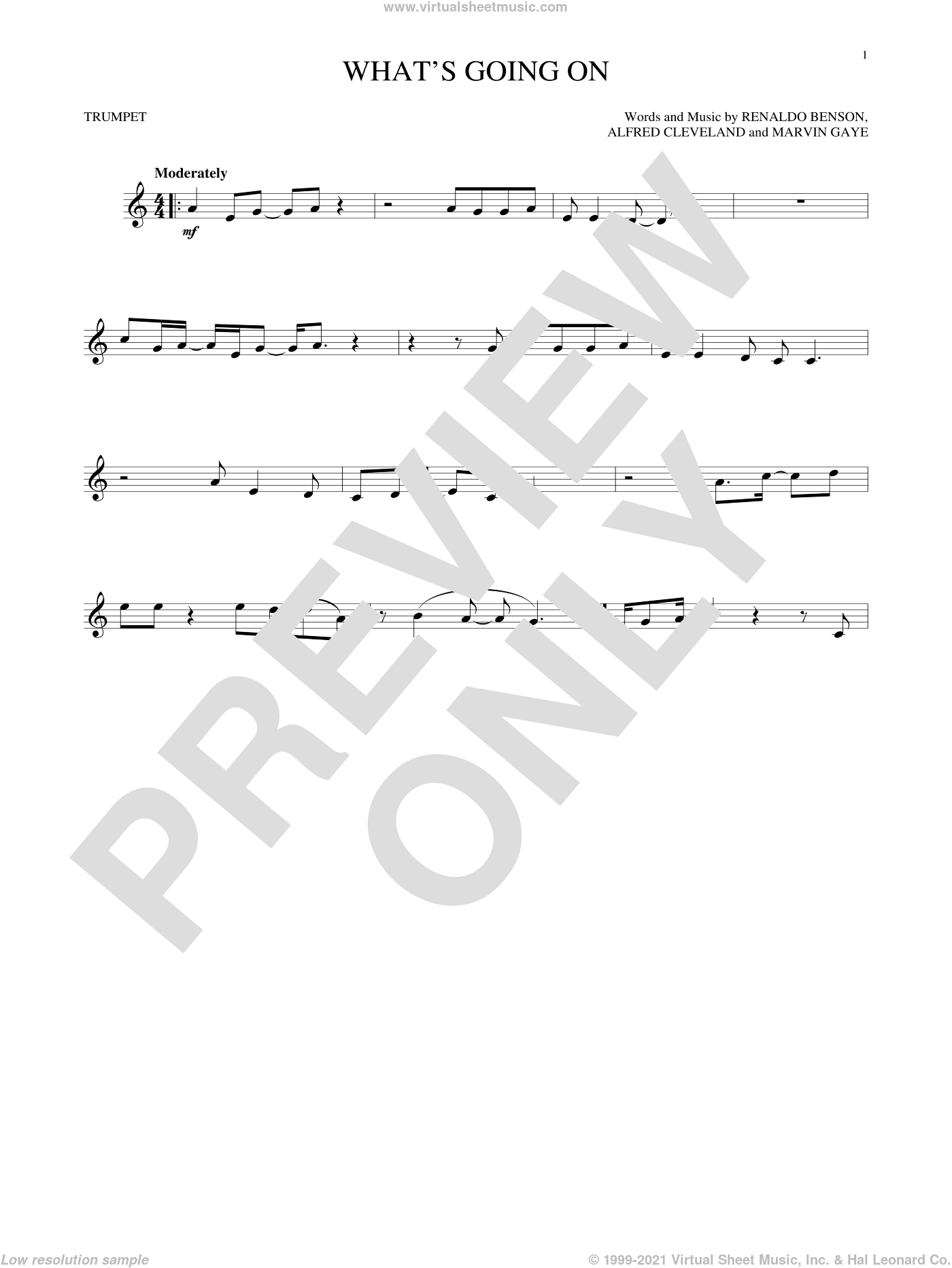 What's Going On sheet music for trumpet solo by Marvin Gaye, Al Cleveland and Renaldo Benson, intermediate skill level