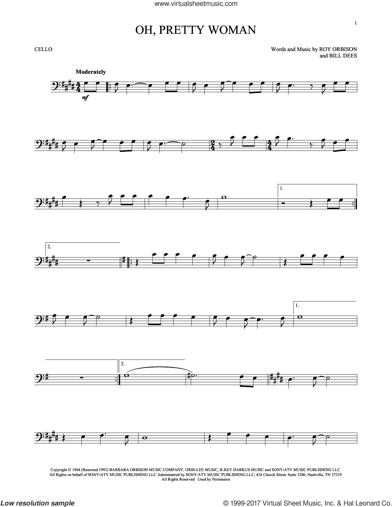 Oh, Pretty Woman sheet music for cello solo by Roy Orbison and Bill Dees, intermediate skill level