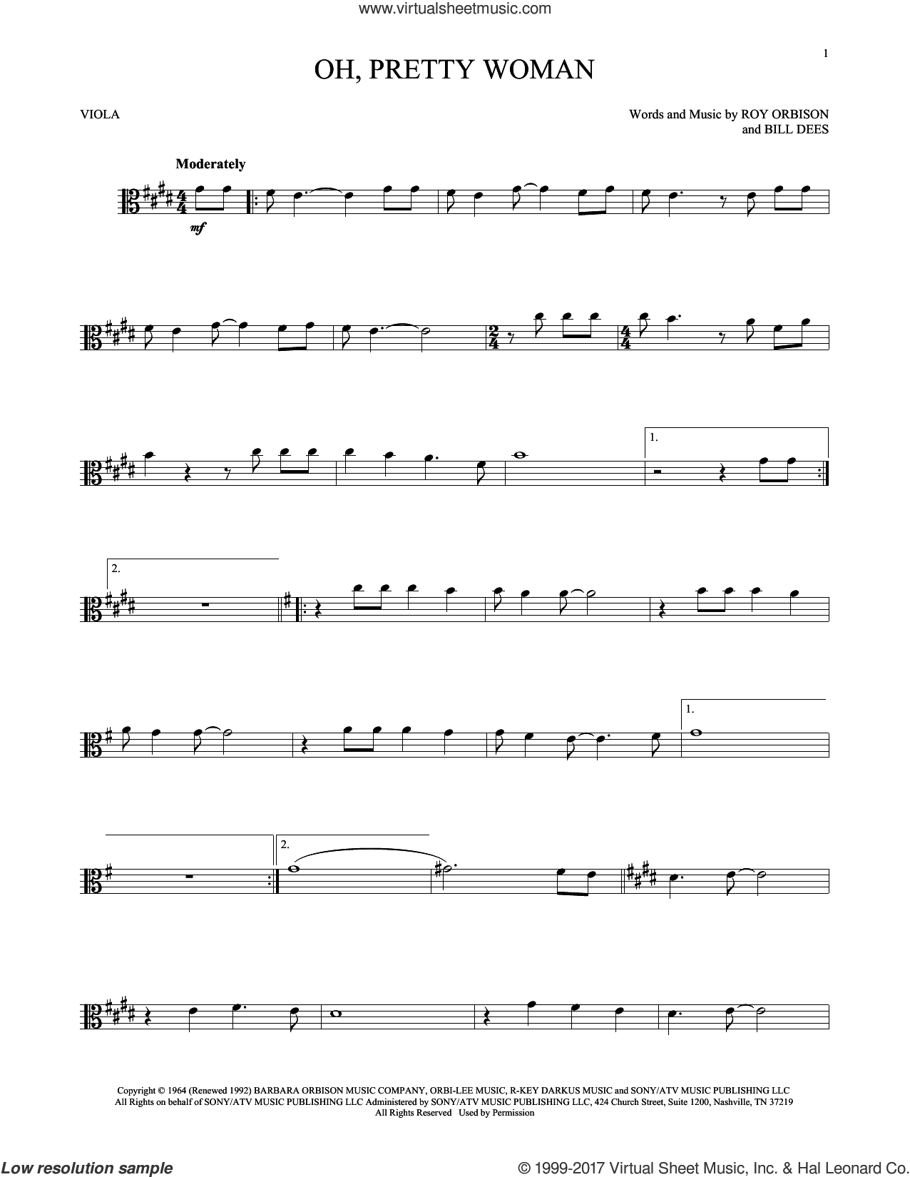 Oh, Pretty Woman sheet music for viola solo by Roy Orbison and Bill Dees, intermediate