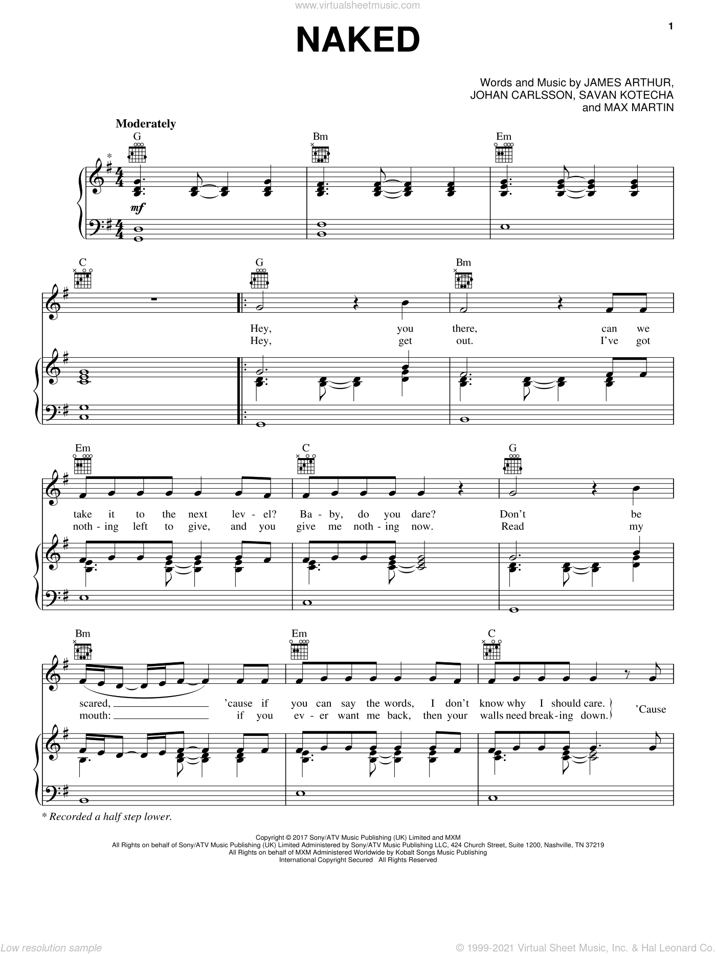 Naked sheet music for voice, piano or guitar by James Arthur, Johan Carlsson, Max Martin and Savan Kotecha, intermediate skill level
