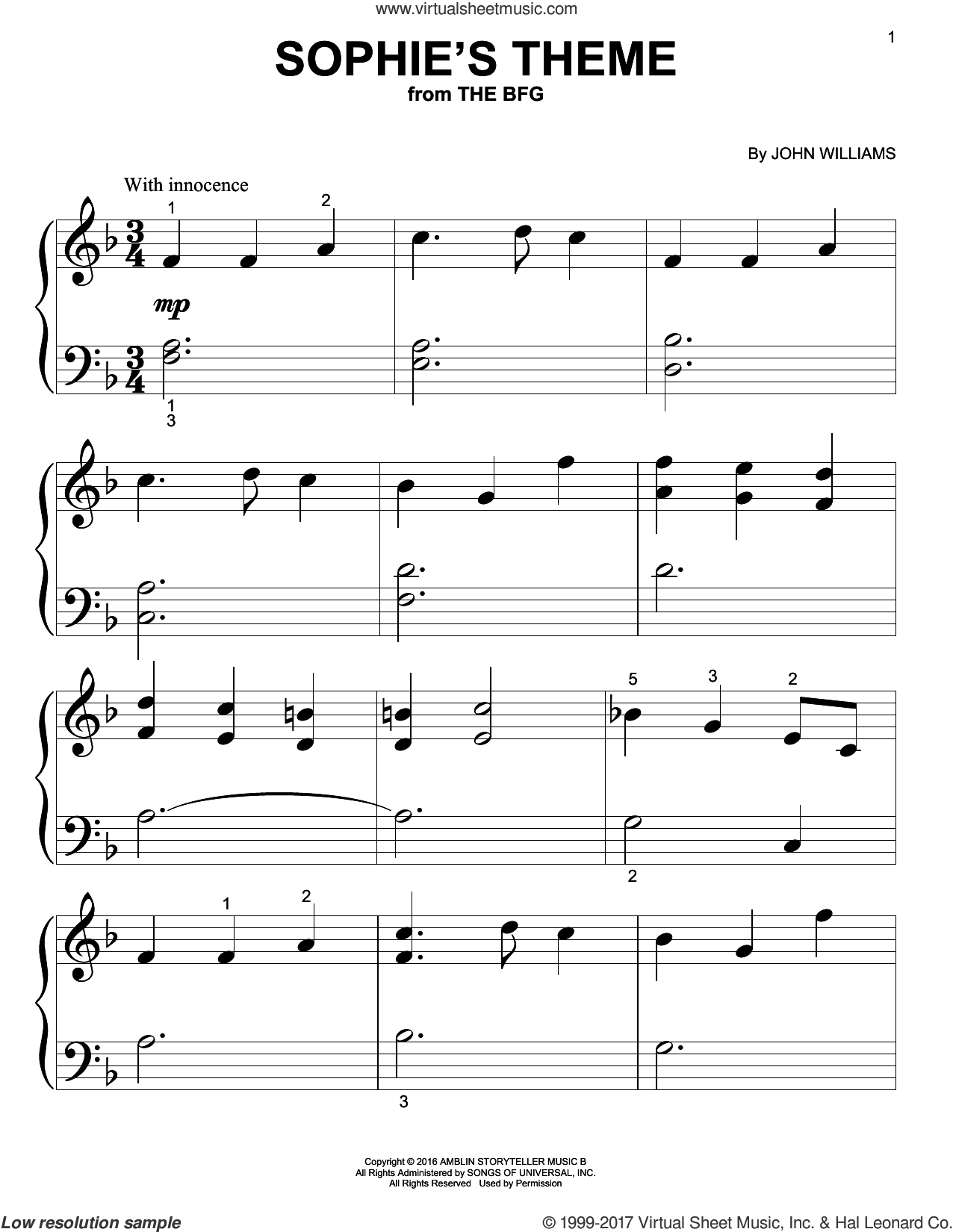 Sophie's Theme sheet music for piano solo (big note book) by John Williams, easy piano (big note book)