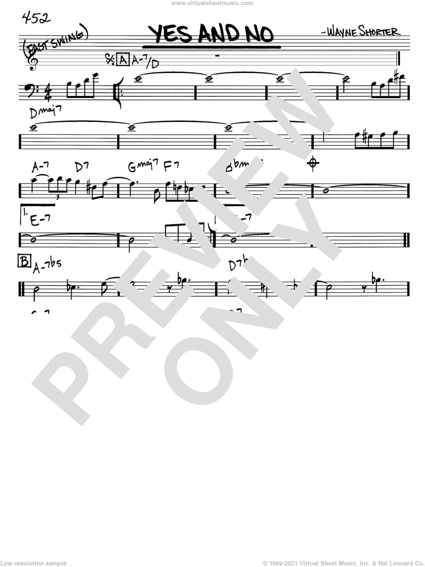 Yes And No sheet music for voice and other instruments (bass clef) by Wayne Shorter, intermediate skill level