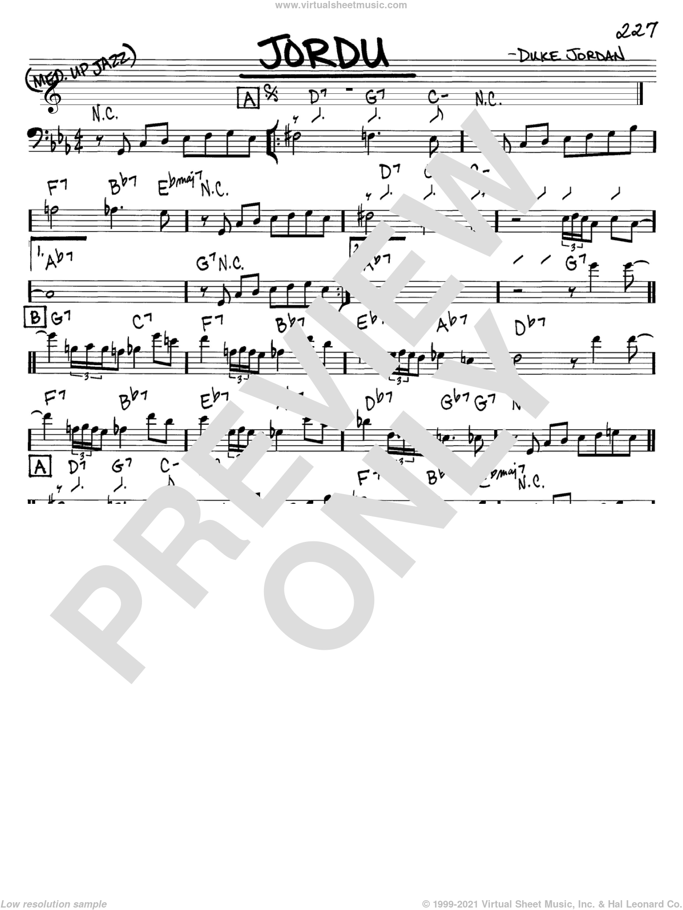 Jordu sheet music for voice and other instruments (bass clef) by Duke Jordan, intermediate