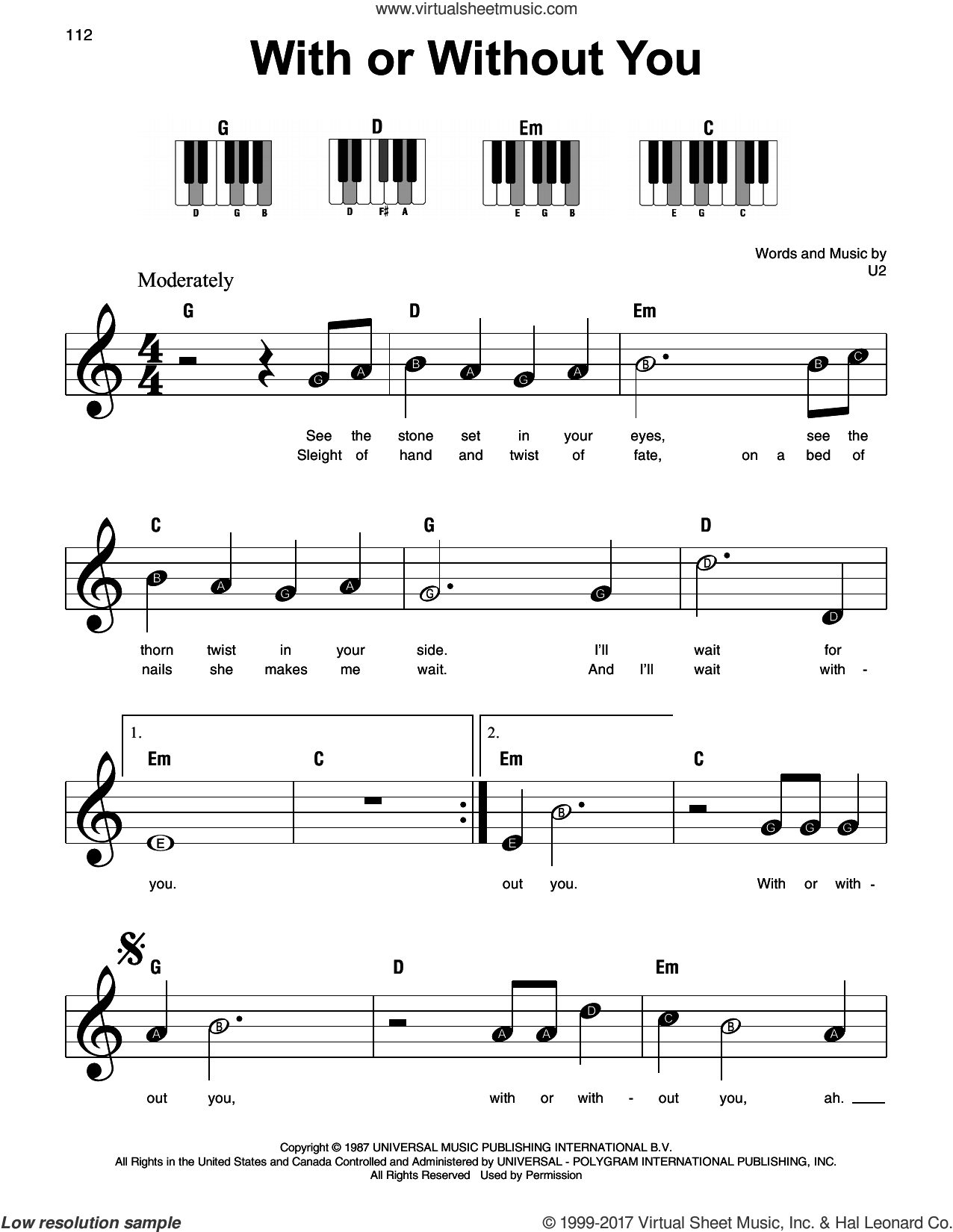 With Or Without You, (beginner) sheet music for piano solo by U2, beginner skill level
