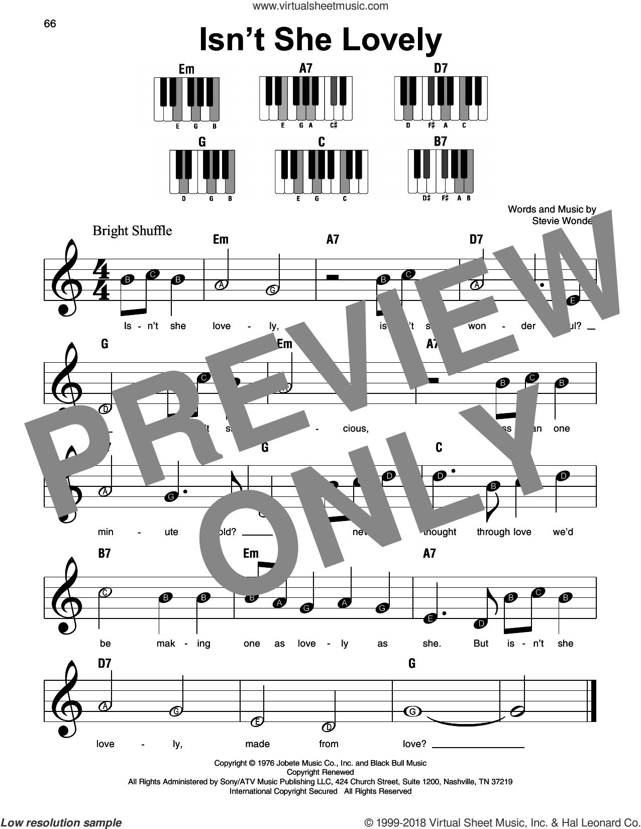 Isn't She Lovely sheet music for piano solo by Stevie Wonder, beginner skill level
