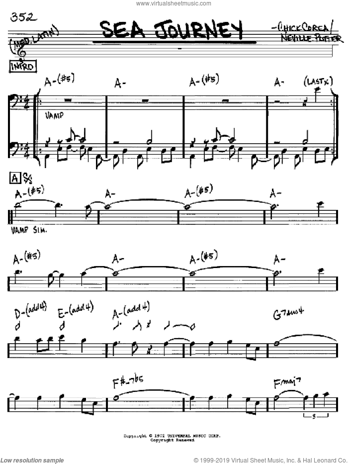 Sea Journey sheet music for voice and other instruments (bass clef) by Chick Corea and Neville Potter, intermediate skill level