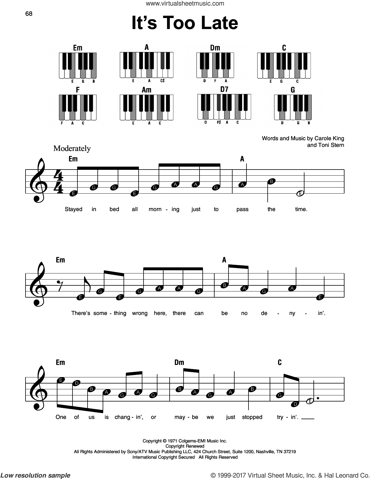 It's Too Late sheet music for piano solo by Carole King and Toni Stern, beginner skill level