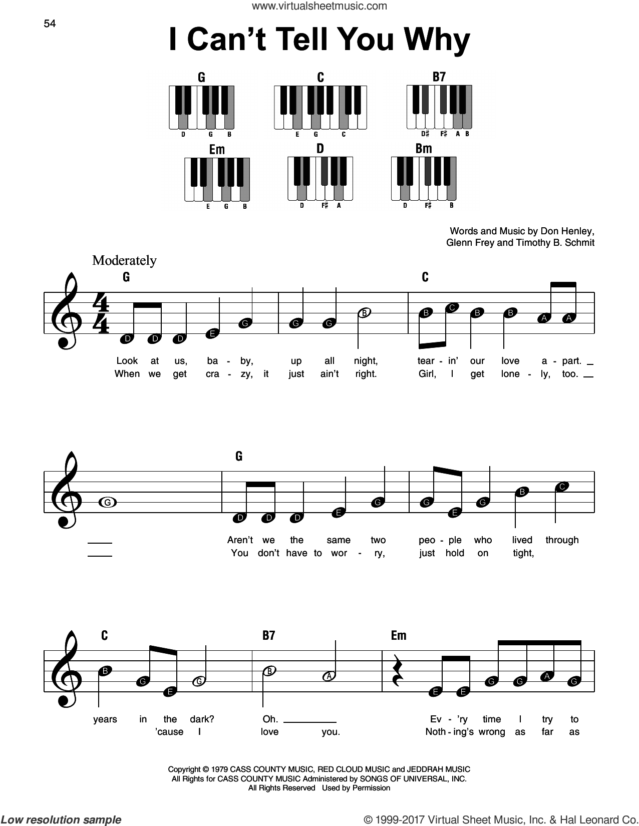I Can't Tell You Why sheet music for piano