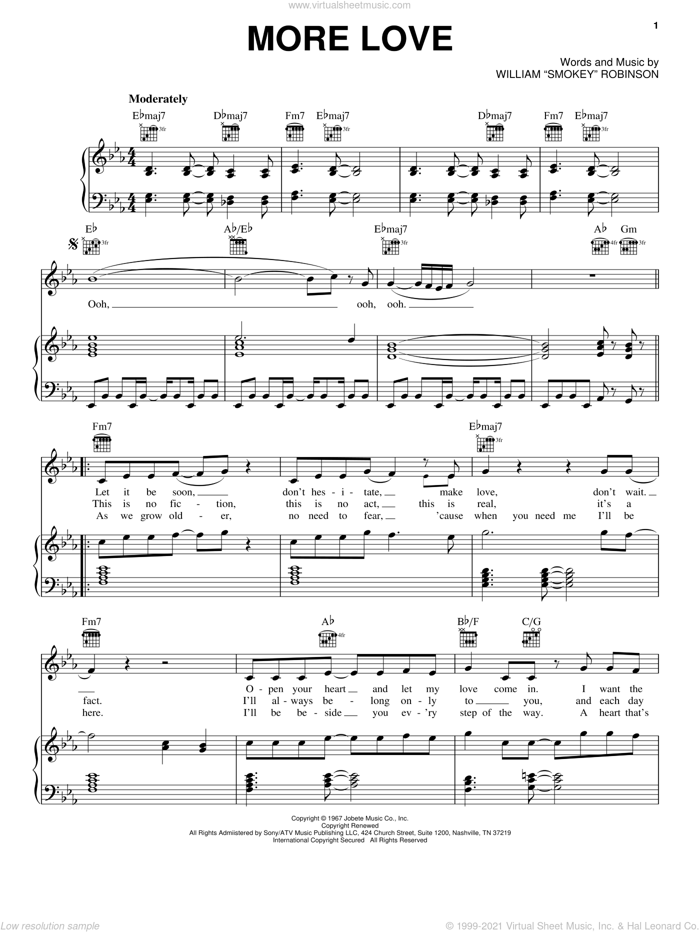 More Love sheet music for voice, piano or guitar by William 'Smokey' Robinson, intermediate skill level