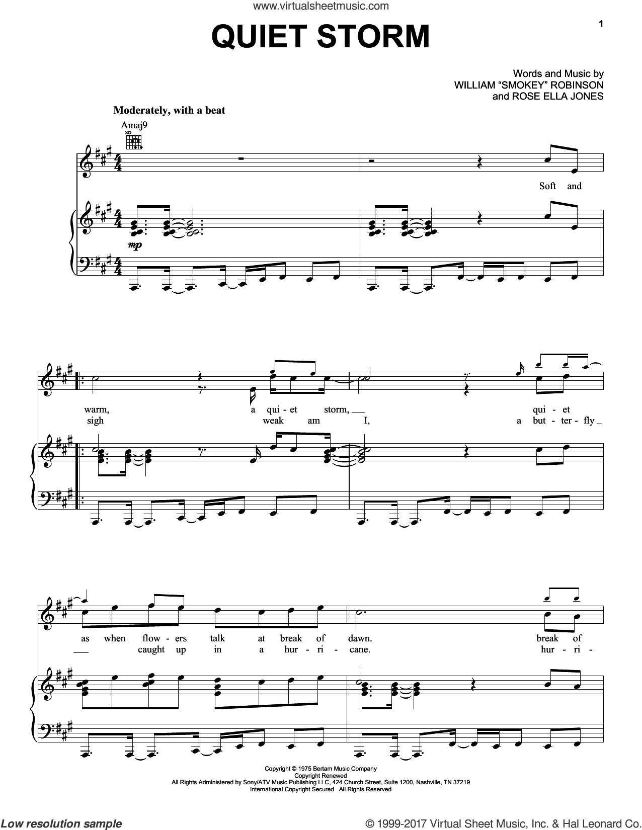 Quiet Storm sheet music for voice, piano or guitar by William 'Smokey' Robinson and Rose Ella Jones, intermediate skill level