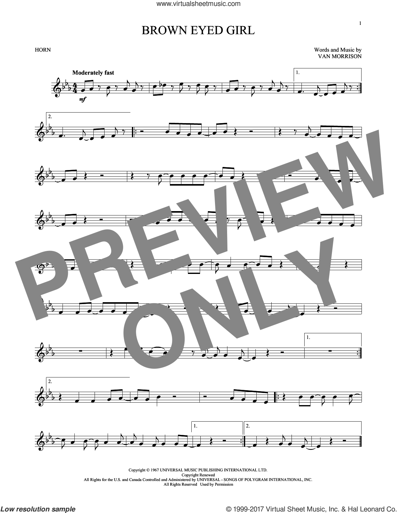 Brown Eyed Girl sheet music for horn solo by Van Morrison, intermediate