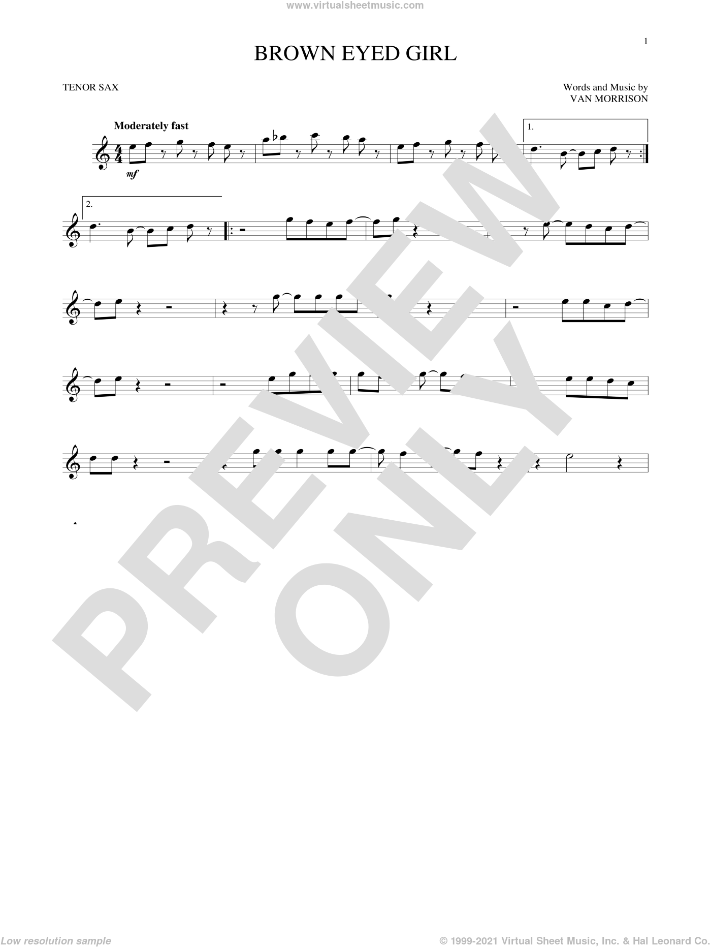 Brown Eyed Girl sheet music for tenor saxophone solo by Van Morrison, intermediate skill level