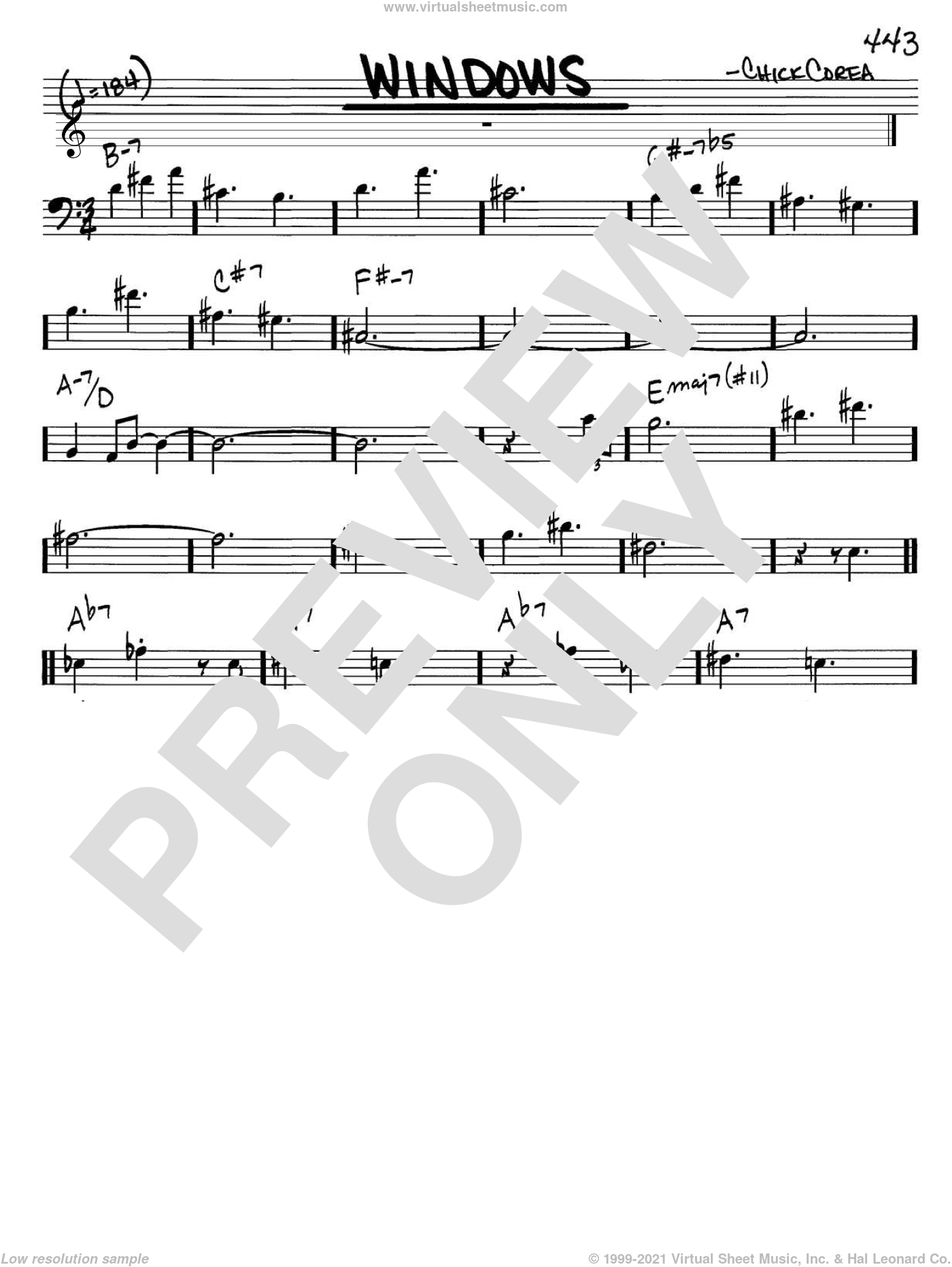 Windows sheet music for voice and other instruments (bass clef) by Chick Corea, intermediate. Score Image Preview.