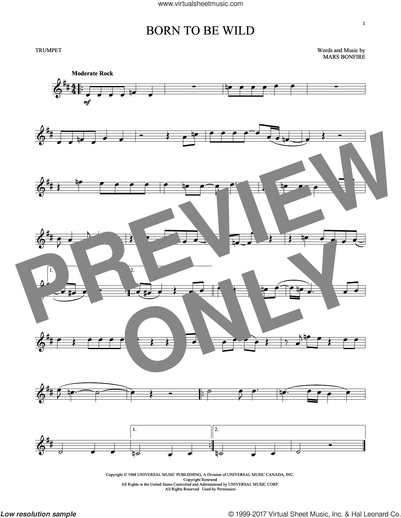 Born To Be Wild sheet music for trumpet solo by Steppenwolf and Mars Bonfire, intermediate skill level