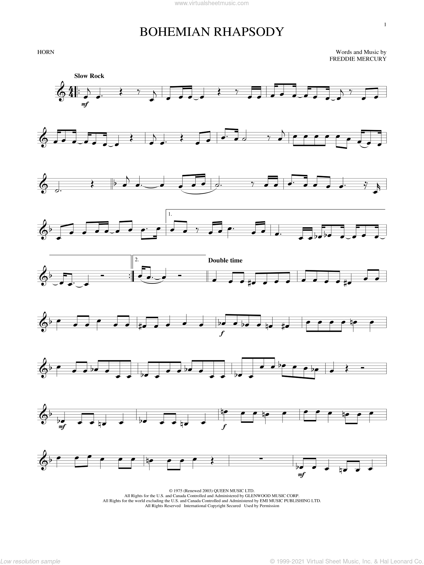 Bohemian Rhapsody sheet music for horn solo by Queen and Freddie Mercury, intermediate skill level