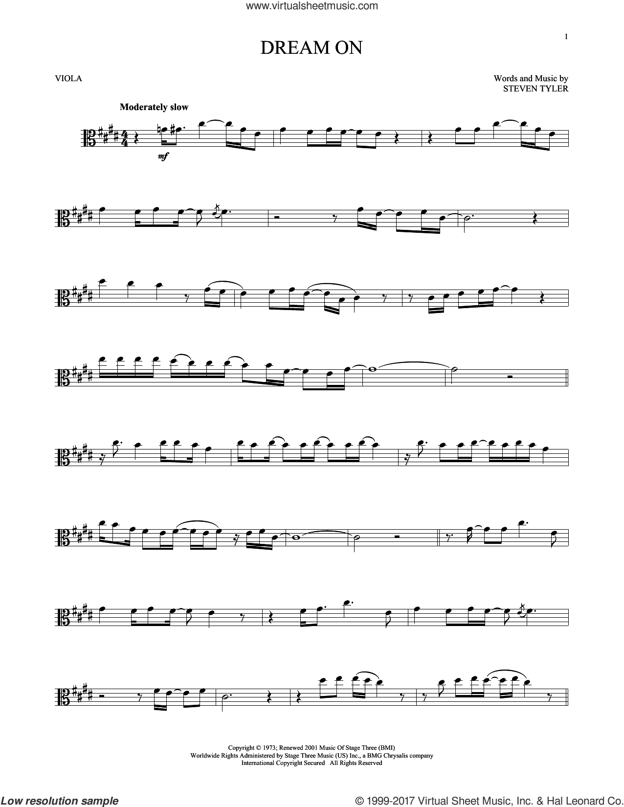 Dream On sheet music for viola solo by Aerosmith and Steven Tyler, intermediate skill level