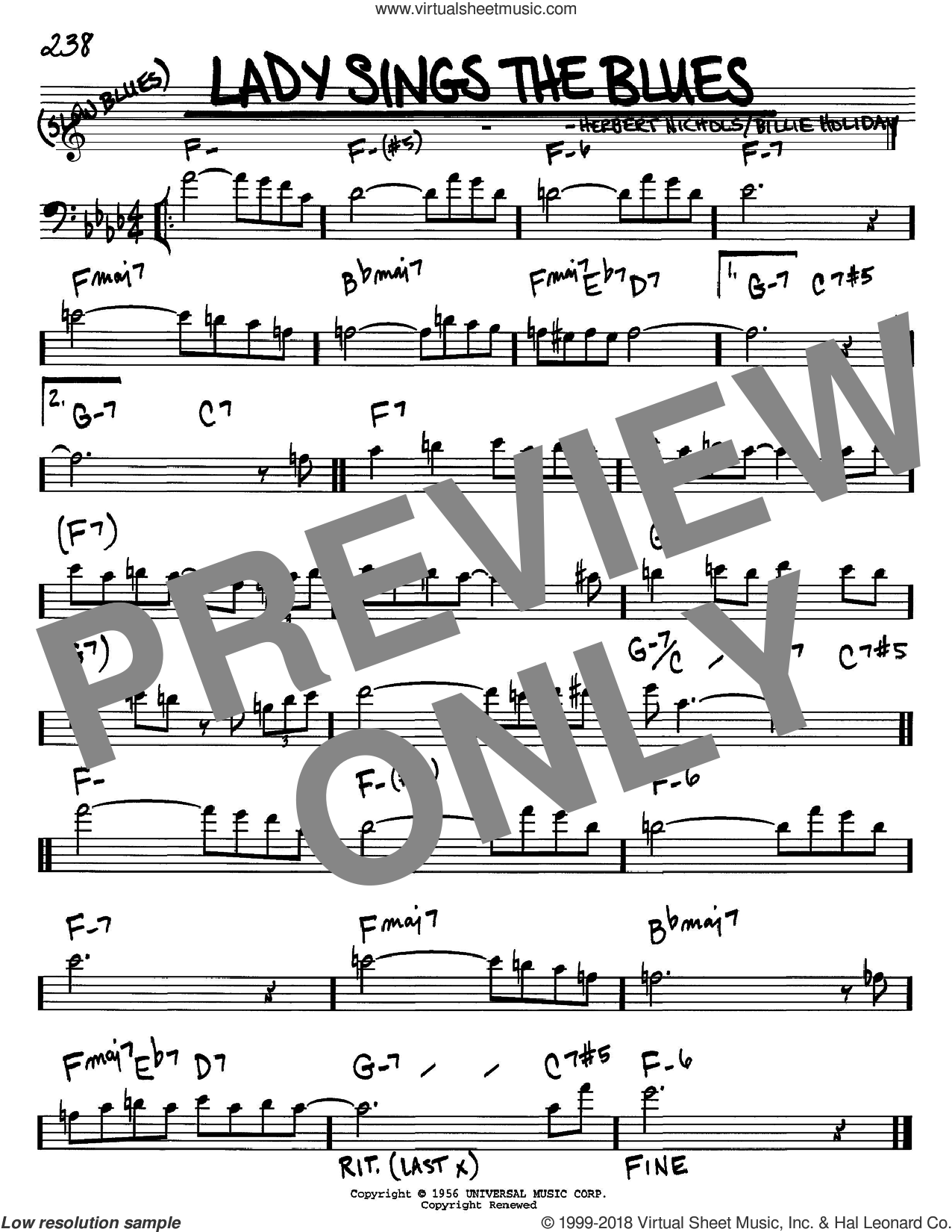 Lady Sings The Blues sheet music for voice and other instruments (Bass Clef ) by Herbie Nichols and Billie Holiday. Score Image Preview.