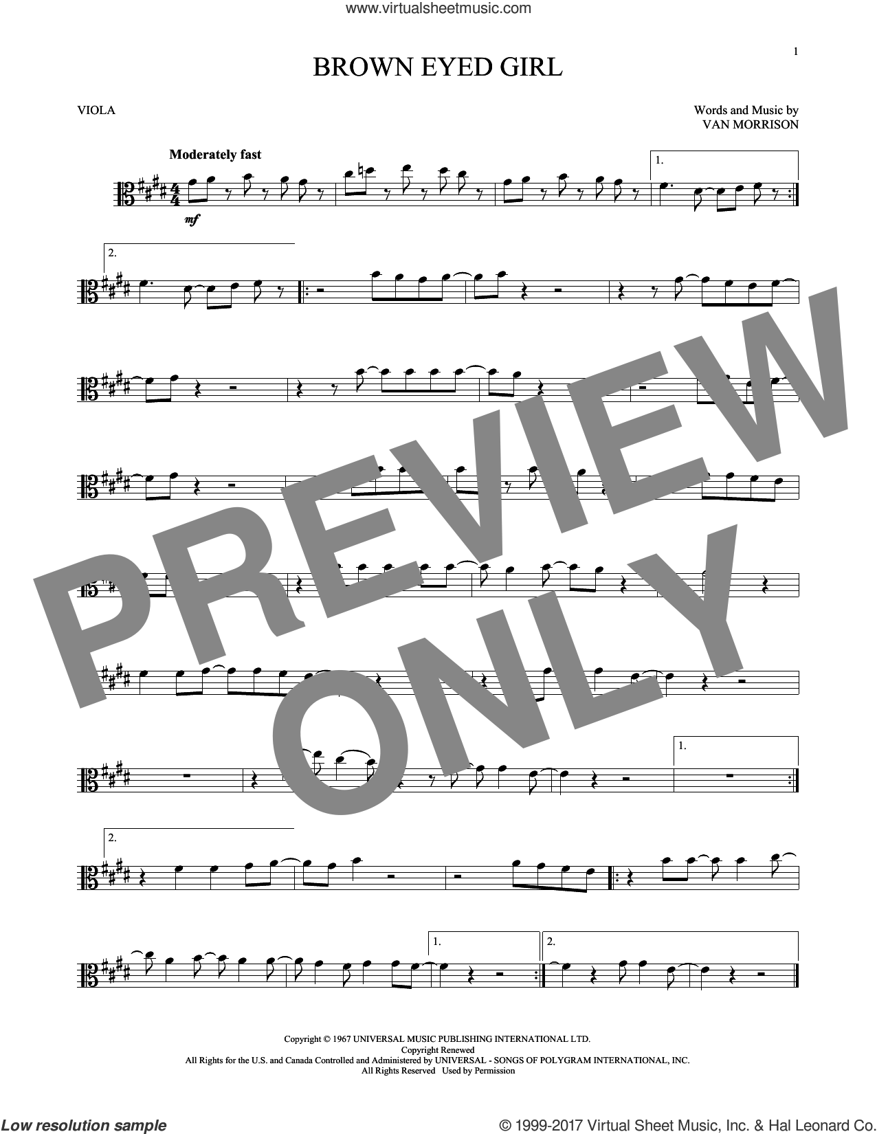 Brown Eyed Girl sheet music for viola solo by Van Morrison, intermediate skill level