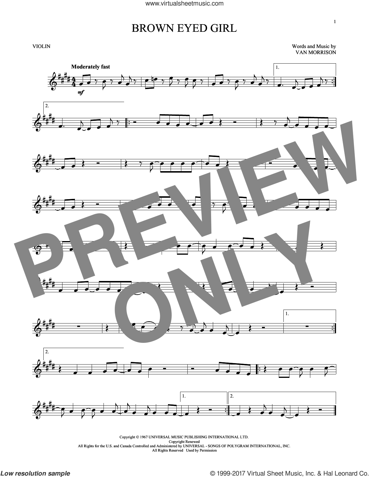 Brown Eyed Girl sheet music for violin solo by Van Morrison, intermediate skill level