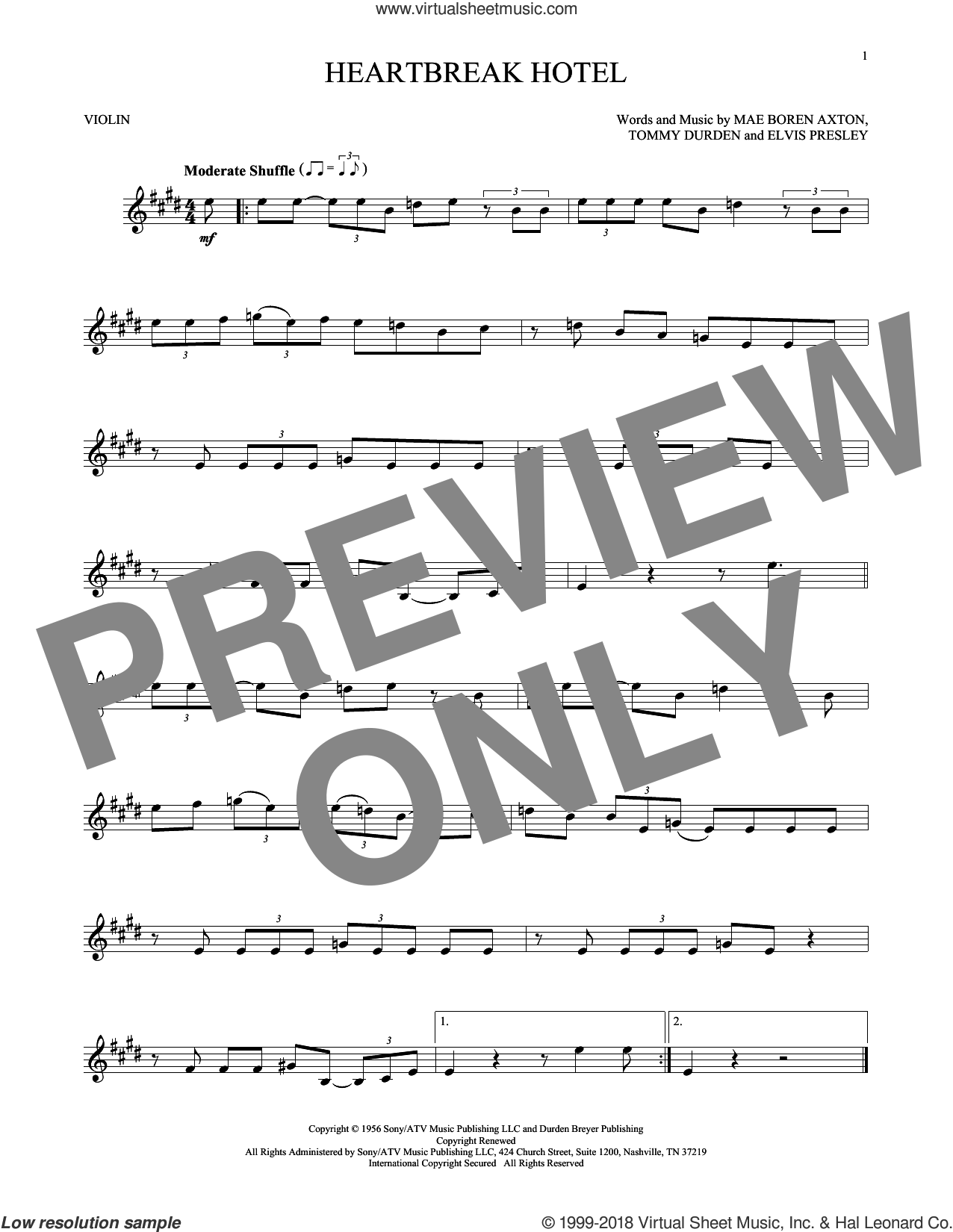 Heartbreak Hotel sheet music for violin solo by Elvis Presley, Mae Boren Axton and Tommy Durden, intermediate skill level