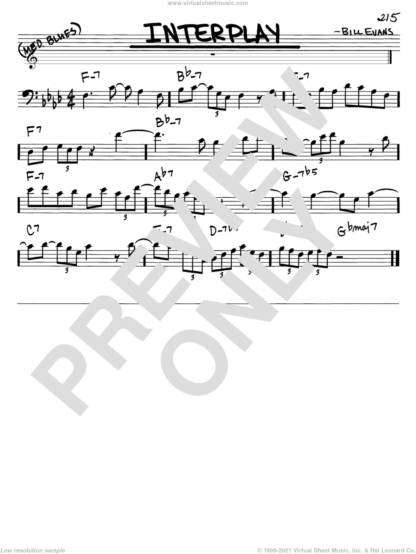 Interplay sheet music for voice and other instruments (bass clef) by Bill Evans, intermediate. Score Image Preview.