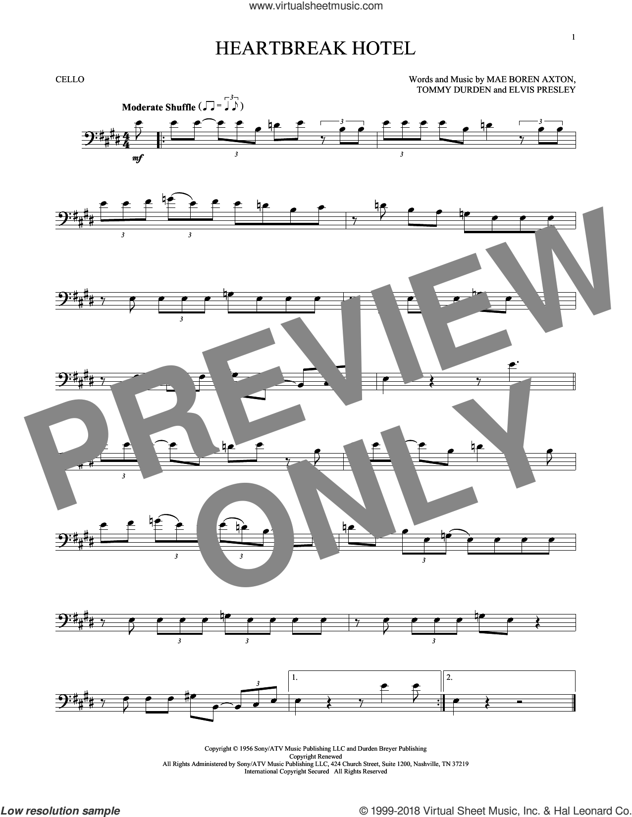 Heartbreak Hotel sheet music for cello solo by Elvis Presley, Mae Boren Axton and Tommy Durden, intermediate skill level