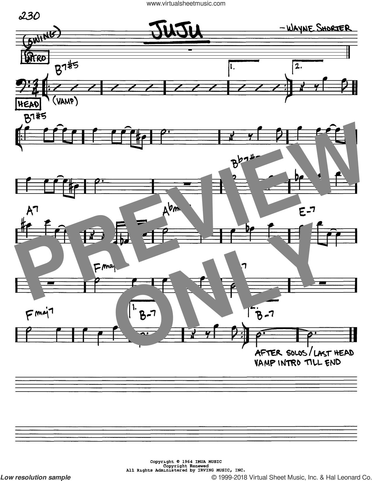 Juju sheet music for voice and other instruments (Bass Clef ) by Wayne Shorter. Score Image Preview.