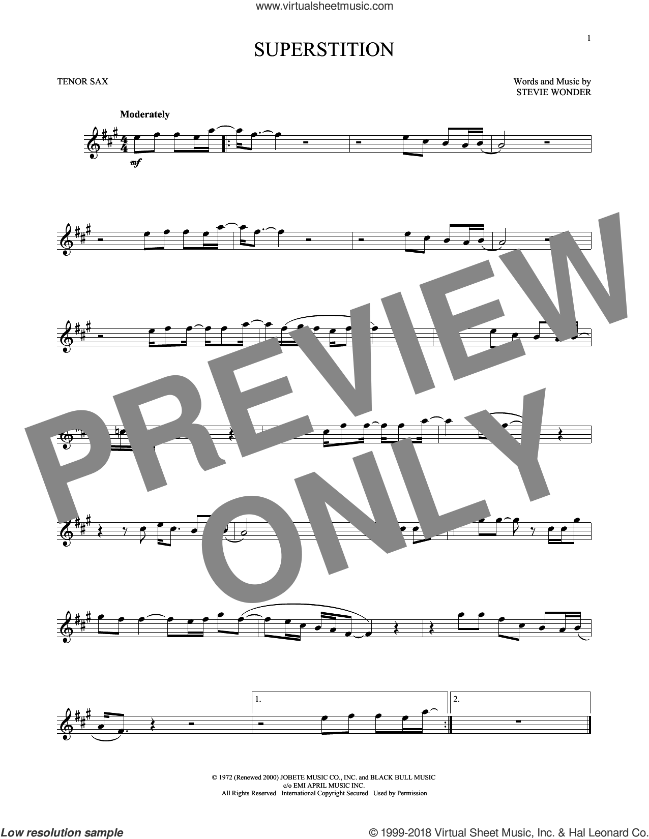 Superstition sheet music for tenor saxophone solo by Stevie Wonder, intermediate skill level