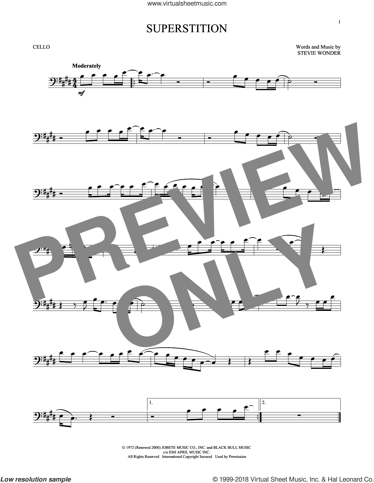 Superstition sheet music for cello solo by Stevie Wonder, intermediate skill level