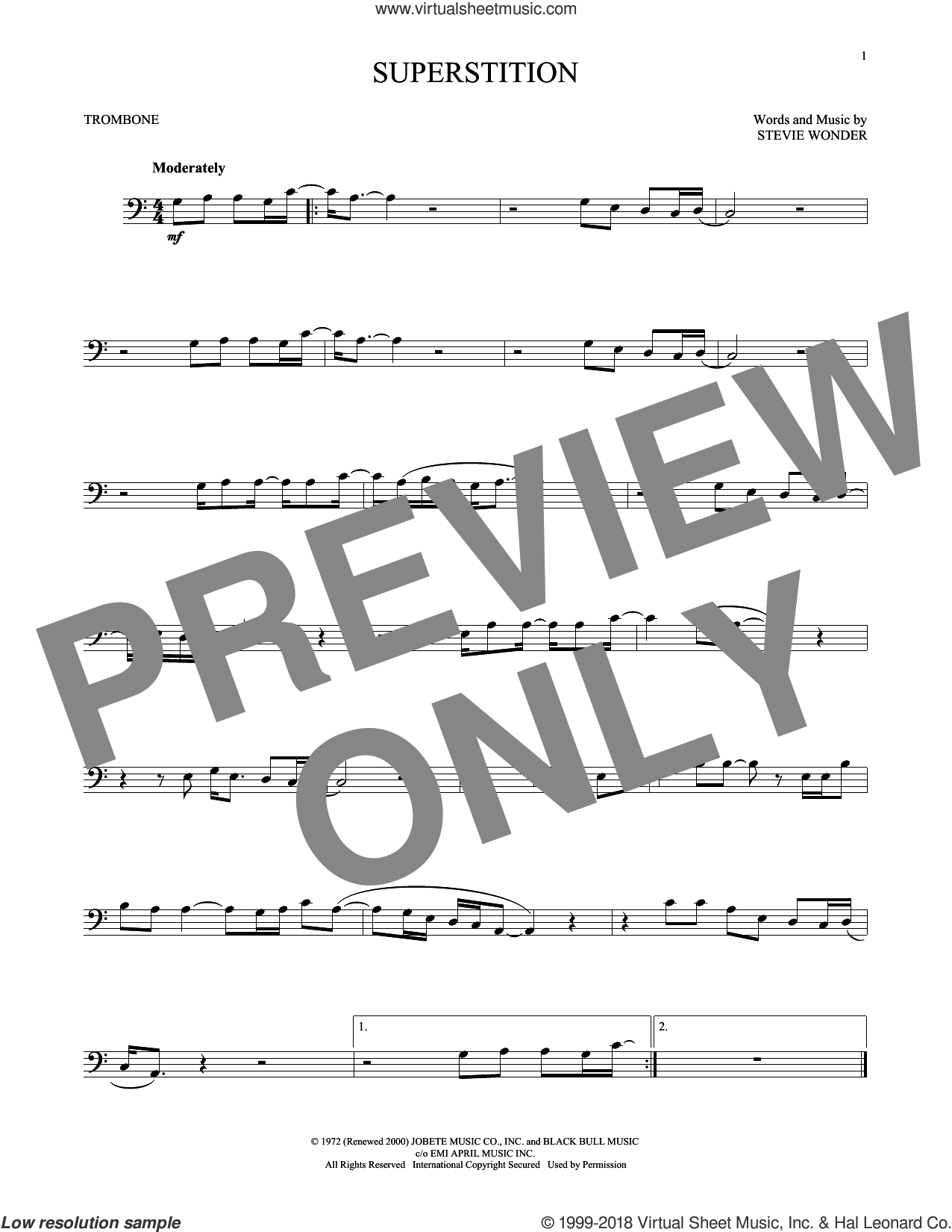 Superstition sheet music for trombone solo by Stevie Wonder, intermediate skill level