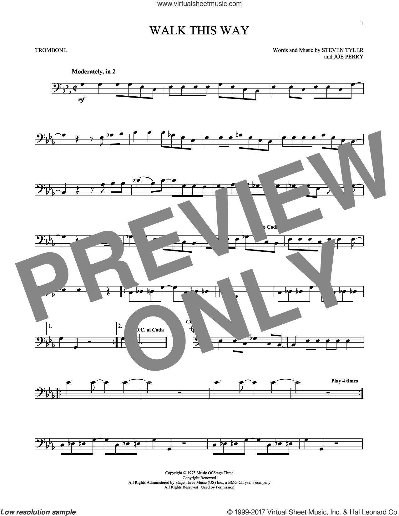 Walk This Way sheet music for trombone solo by Aerosmith, Run D.M.C., Joe Perry and Steven Tyler, intermediate skill level