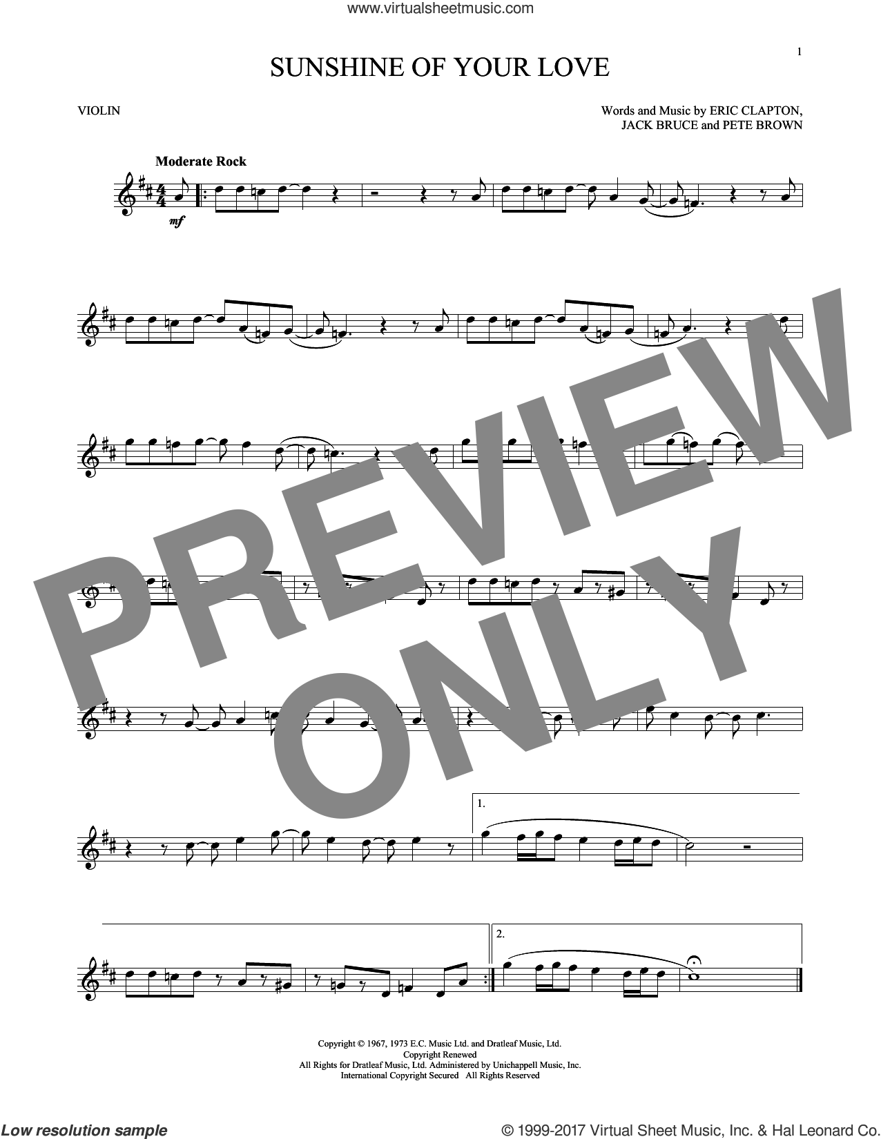 Sunshine Of Your Love sheet music for violin solo by Cream, Eric Clapton, Jack Bruce and Pete Brown, intermediate skill level