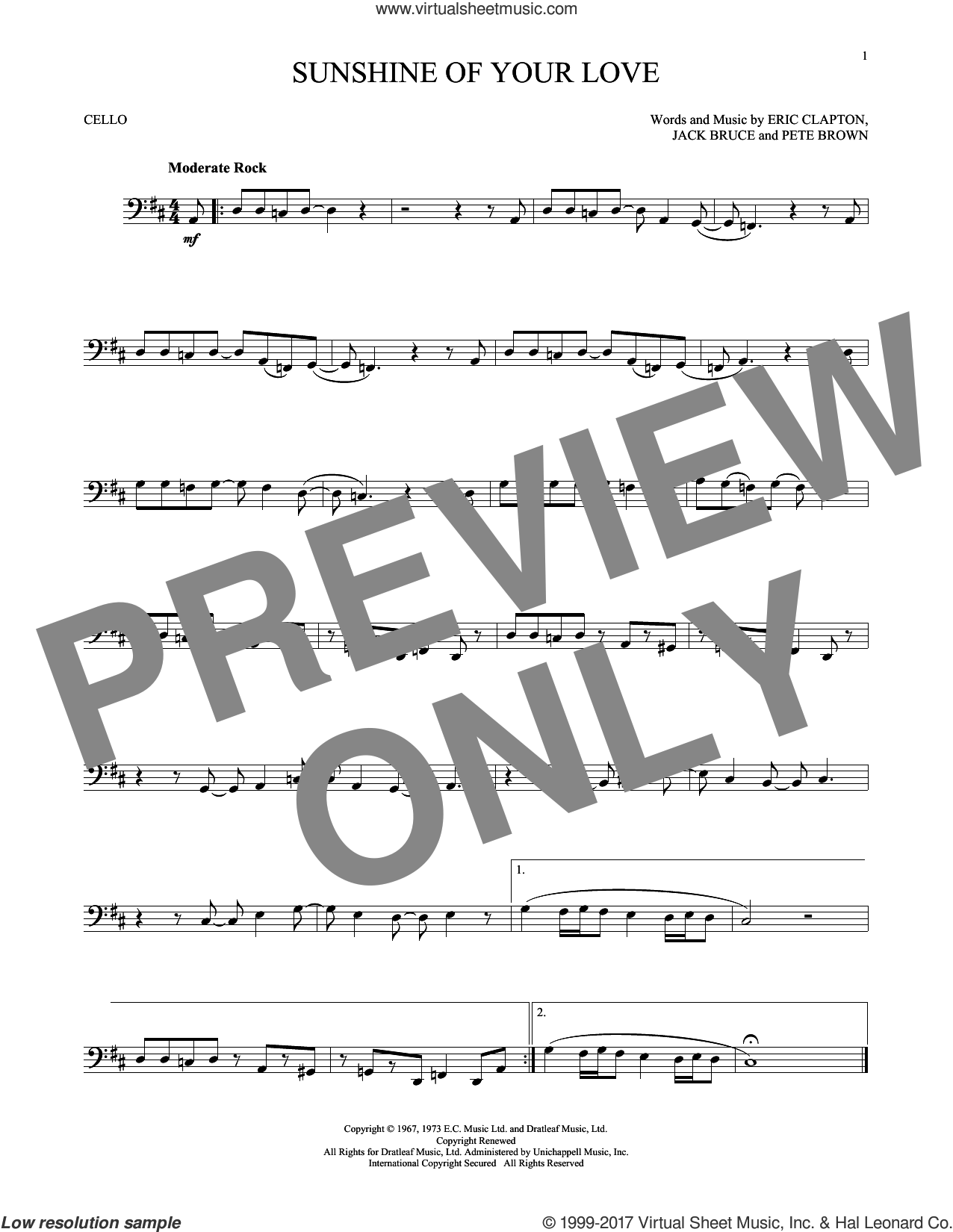Sunshine Of Your Love sheet music for cello solo by Cream, Eric Clapton, Jack Bruce and Pete Brown, intermediate. Score Image Preview.