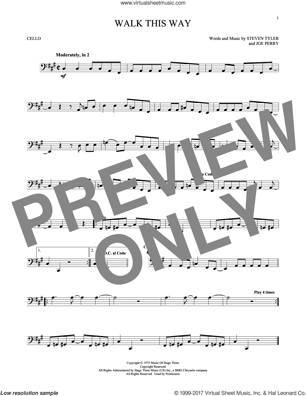 Walk This Way sheet music for cello solo by Aerosmith, Run D.M.C., Joe Perry and Steven Tyler, intermediate skill level