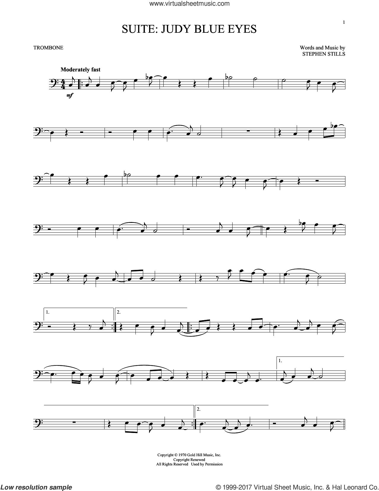Suite: Judy Blue Eyes sheet music for trombone solo by Crosby, Stills & Nash and Stephen Stills, intermediate skill level