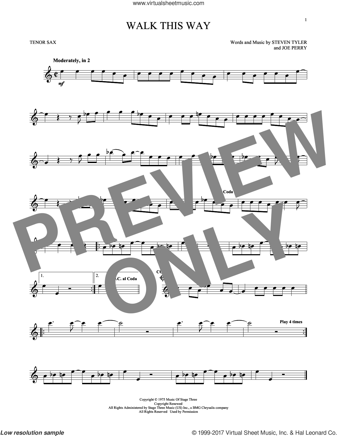 Walk This Way sheet music for tenor saxophone solo by Aerosmith, Run D.M.C., Joe Perry and Steven Tyler, intermediate skill level