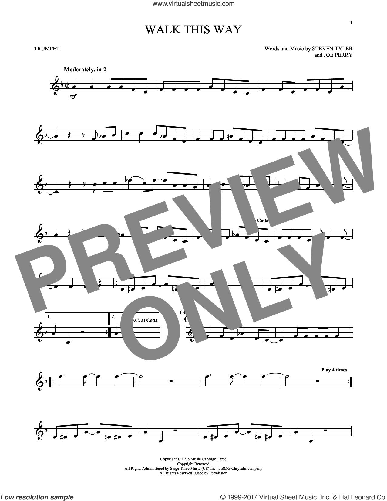 Walk This Way sheet music for trumpet solo by Aerosmith, Run D.M.C., Joe Perry and Steven Tyler, intermediate skill level