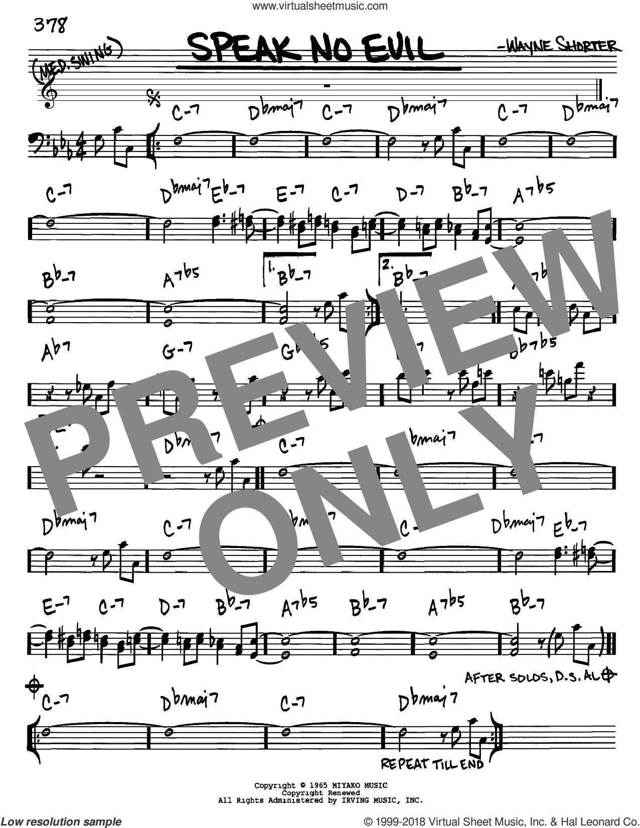 Speak No Evil sheet music for voice and other instruments (Bass Clef ) by Wayne Shorter. Score Image Preview.