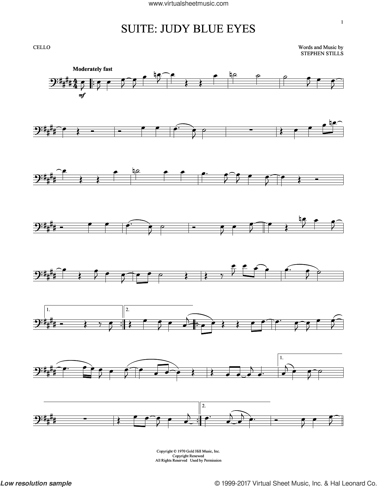 Suite: Judy Blue Eyes sheet music for cello solo by Crosby, Stills & Nash and Stephen Stills, intermediate skill level