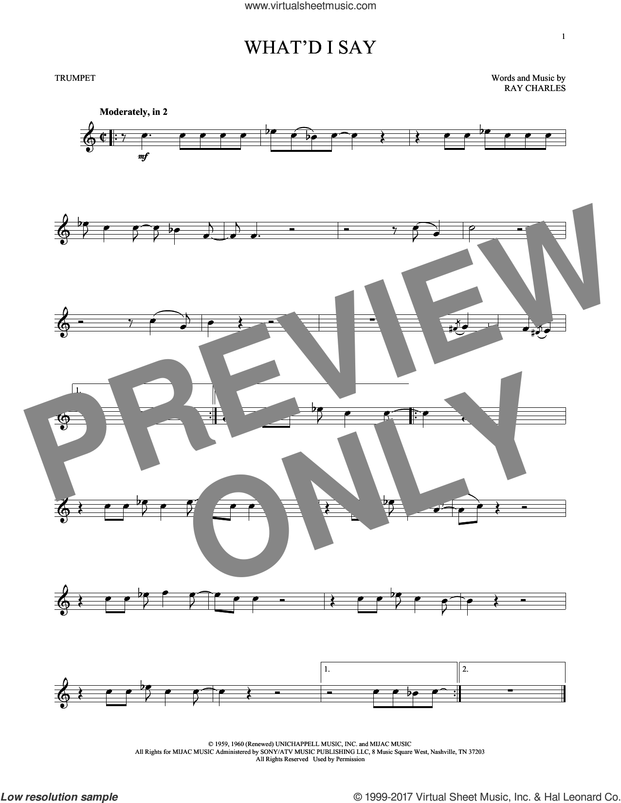 What'd I Say sheet music for trumpet solo by Ray Charles, intermediate skill level