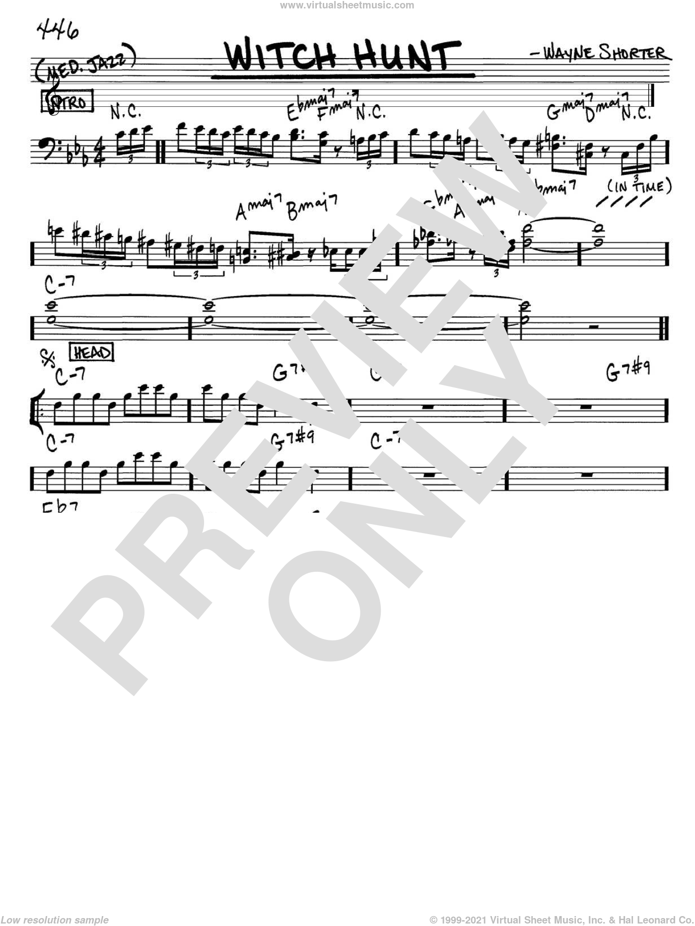 Witch Hunt sheet music for voice and other instruments (bass clef) by Wayne Shorter, intermediate skill level