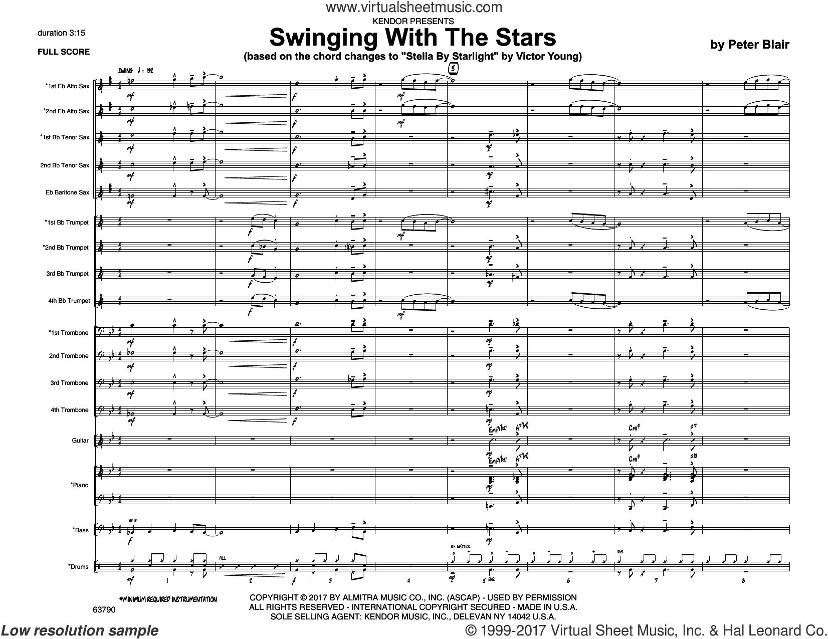 Swinging With The Stars (based on Stella By Starlight by Victor Young) (COMPLETE) sheet music for jazz band by Peter Blair, intermediate skill level