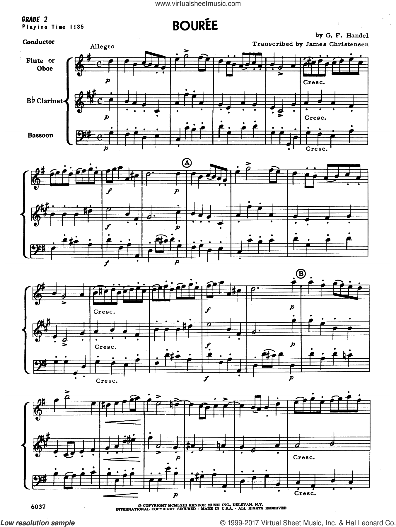 Bouree (COMPLETE) sheet music for wind trio by George Frideric Handel and James Christensen, classical score, intermediate. Score Image Preview.