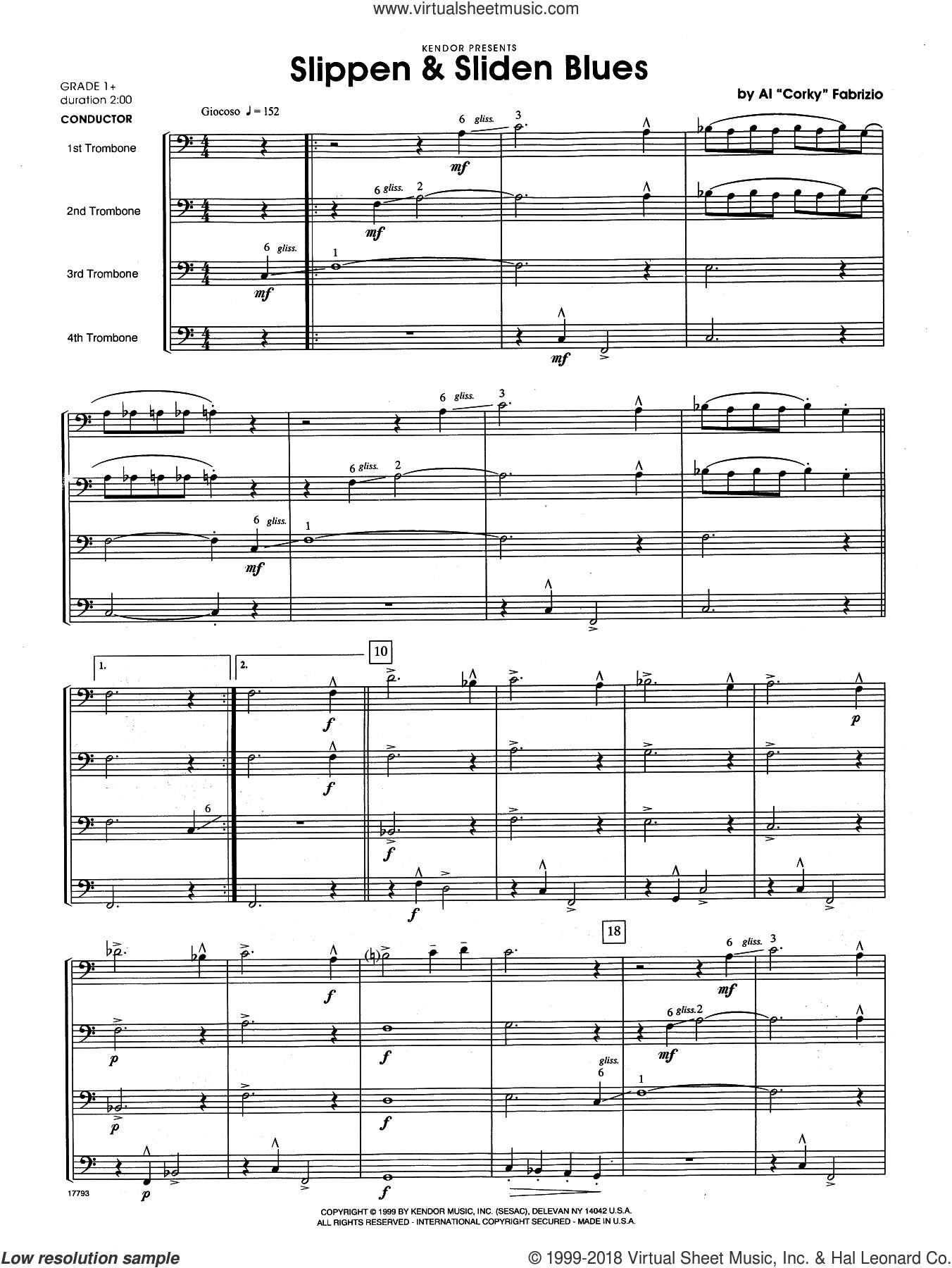 Slippen and Sliden Blues (COMPLETE) sheet music for trombone quintet by Al 'Corky' Fabrizio, intermediate skill level