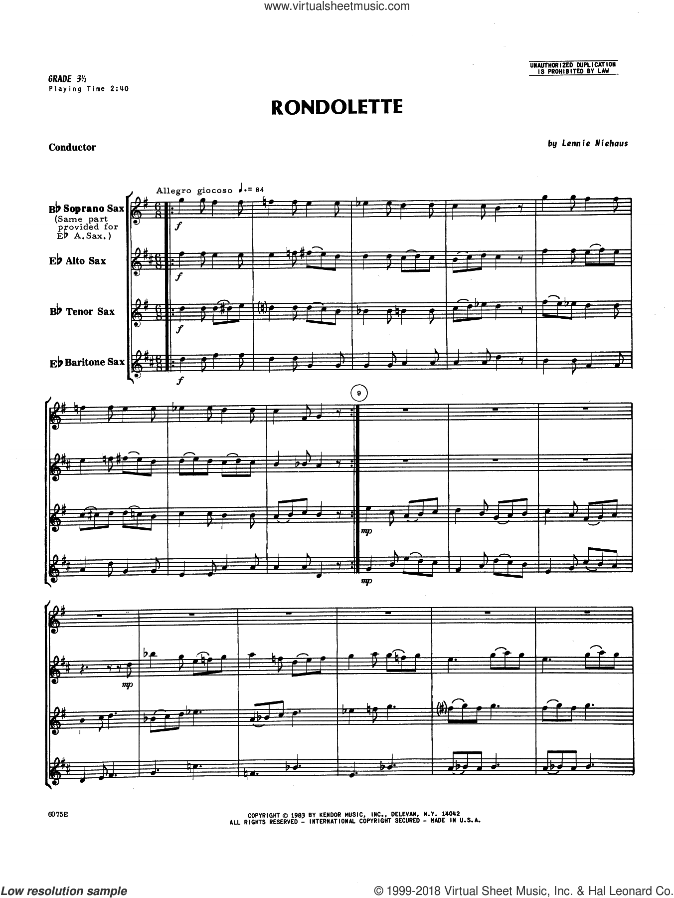 Rondolette (COMPLETE) sheet music for saxophone quintet by Lennie Niehaus, intermediate. Score Image Preview.