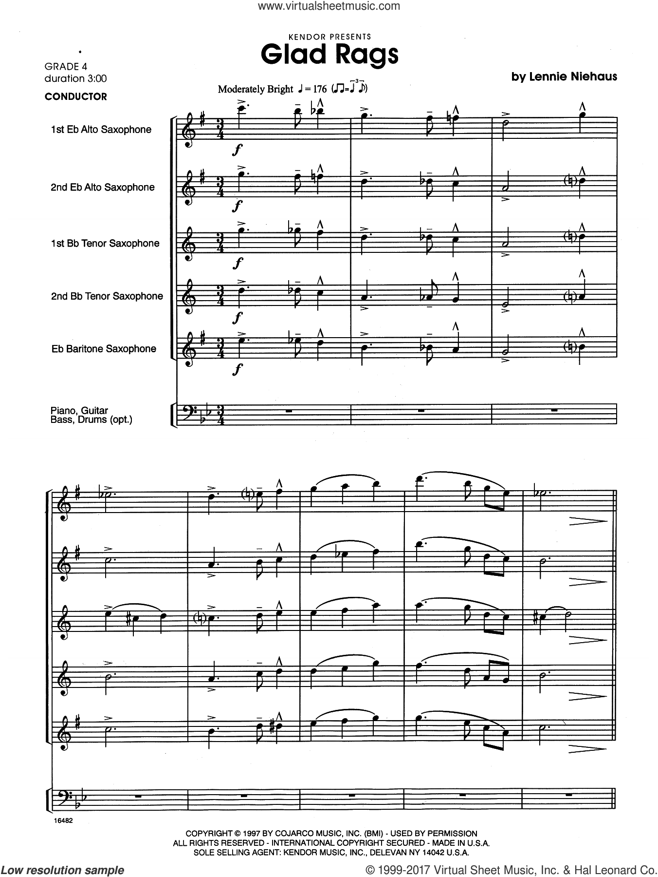 Glad Rags (COMPLETE) sheet music for saxophone quintet by Lennie Niehaus, intermediate skill level
